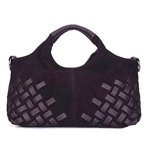 Nico Louise Women Weave Suede Genuine Leather Handbag Female Leisure Casual Lady Crossbody Shoulder Bag Messenger Top-handle Bags (Brown Small) (Leather Suede Genuine Ladies)