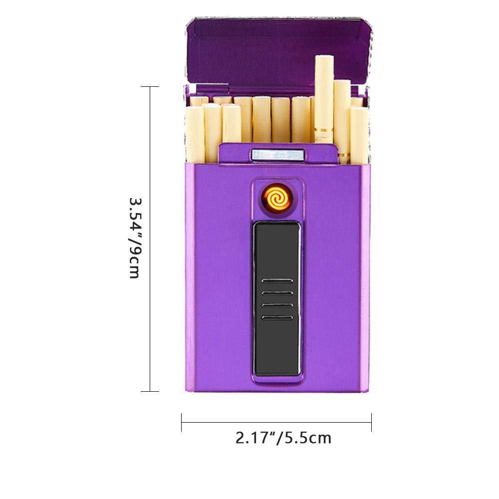 custodia sottile per 20 sigarette Teepao con accendino elettrico ricaricabile confezione regalo portasigarette con accendino USB integrato senza fiamma antivento 5,5 x 9 cm Blue da donna