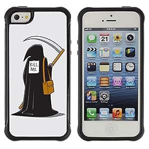 ZeTech Funda Carcasa Bumper con Absorción de Impactos y Anti-Arañazos Espalda - Funny Grim Reaper Illustration - Apple Iphone 5 / 5S