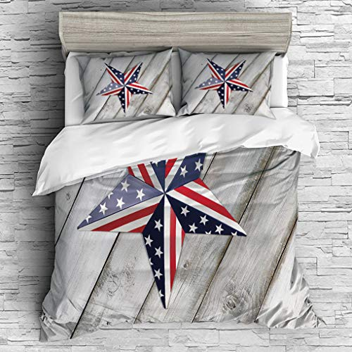3 Pieces (1 Duvet Cover 2 Pillow Shams)/All Seasons/Home Comforter Bedding Sets Duvet Cover Sets for Adult Kids/Singe/4th of July Decor,Independence Day Banner with Balloons National Parade Country Im