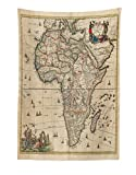 Lunarable Antique Tapestry, Old Map of Africa Continent Ancient Historic Rustic Manuscript Geography, Fabric Wall Hanging Decor for Bedroom Living Room Dorm, 30 W X 45 L Inches, Sand Brown Multicolor