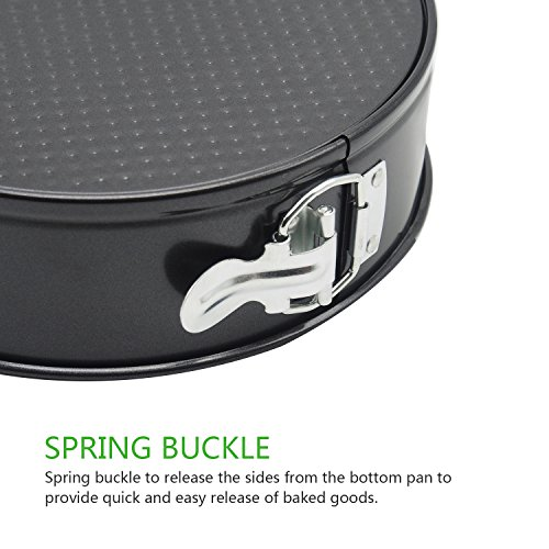 """Lifewit Springform Pan 9"""" Nonstick Leakproof Cake Bakeware Cheese Cake Pan for Instant Pot with Removable Waffle Bottom and Quick-Release Latch Black Coating"""
