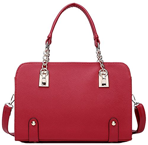 Ilishop Women's New Fashion Shoulder Top-handle Bag Ladies Casual Cross-body Teens (Red-genuine leather) (New Handbag Red)