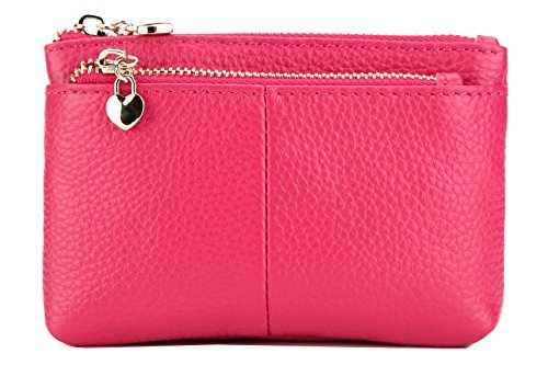ZOOEASS Women Genuine Leather Zip Mini Coin Purse With Key Ring Triple Zipper Card Holder Wallet (Rose)