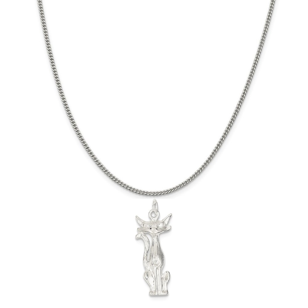 16-20 Mireval Sterling Silver Cat Charm on a Sterling Silver Chain Necklace