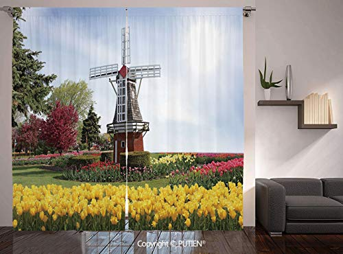 (Thermal Insulated Blackout Window Curtain [ Windmill Decor,Serene Vast Traditional Garden with Blossoming Flowers Trees Dutch Tulips Decorative,Multicolor ] for Living Room Bedroom Dorm Room Classroom)