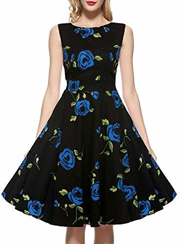 d9196d435309 OWIN Women's Vintage 1950's Floral Spring Garden Picnic Dress Party  Cocktail Dress