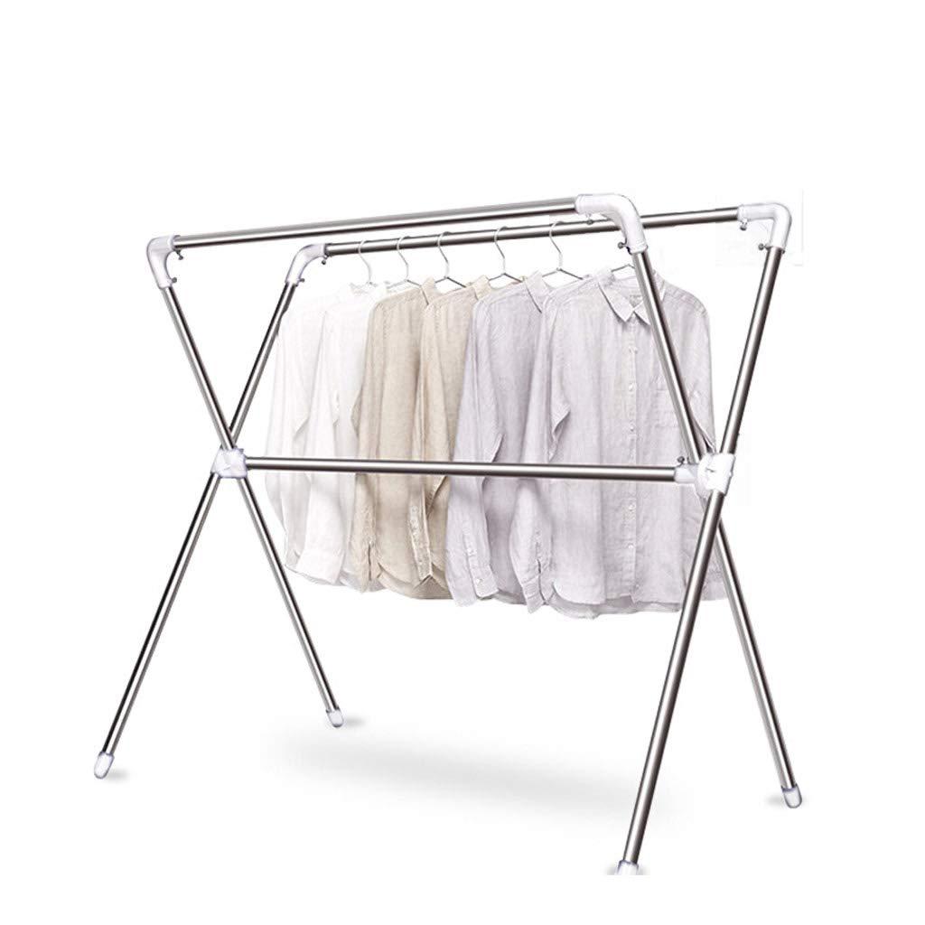 折りたたみ式乾燥ラック、引き込み式の115-200cmの金属の床用衣服のポールの乾燥用の服キルトフロアスタンド、バルコニー用屋外ガーデンの屋内用乾燥ラック、ホワイト B07MPFCV24