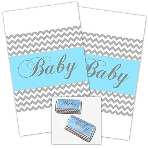 Gray Chevron and Blue Baby Shower Miniature Candy Wrappers, Peel and Stick Mini Wrappers (54 count) (Shower Baby Miniature Candy Wrappers)