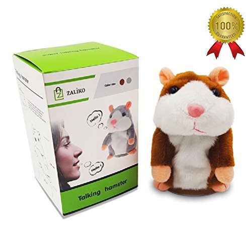 zaliko Talking Hamster, Hamster Pet Doll, Hilarious Pet Talking Hamster Mouse with Recording &Talkback Feature for up to 15 Seconds and 10 Phrases max. For Girl/ Boy (light brown)