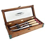 #10: Teton Fishing Carving Set with Handcrafted Box - Carving Knife, Fork, and Sharpening Steel