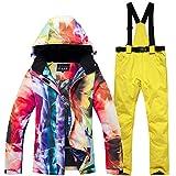 Ski Jacket & bib Overall Snowsuit Set for Women Men, Waterproof Printed Ski Jacket and Pants Set Snowboard Ski bib Suit Jacket -L M