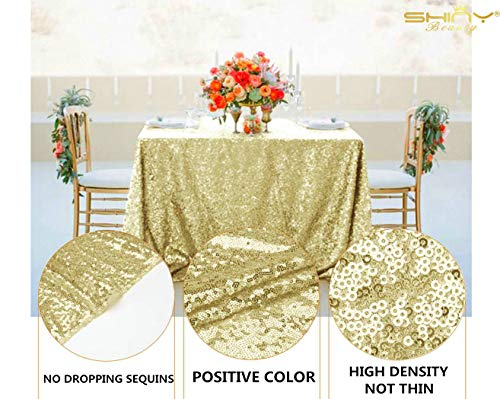 ShiDianYi Light Gold Rectangular Tablecloth 90x132-Inch Table Linens 6FT Sequin Champagne Gold Table Cloth ~0815S by ShiDianYi (Image #4)