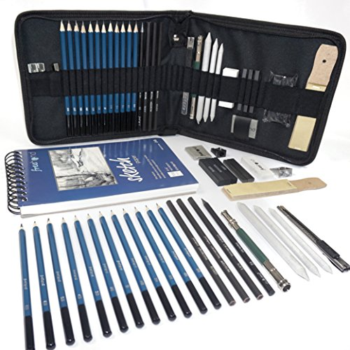 Professional Art Set - Drawing, Sketching and Charcoal Pencils. 100 Page Drawing Pad. Kneaded Eraser included. Art Kit for Kids, Teens and Adults ()