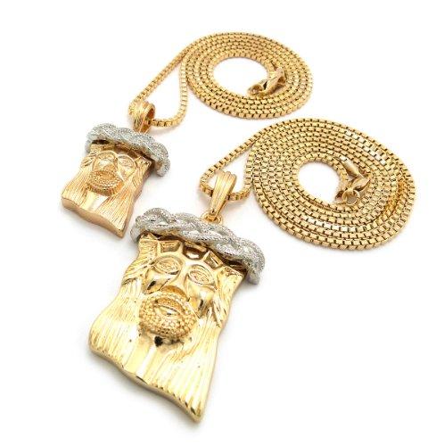 """Gold/Silver Tone Multi Size Jesus Micro Pendant 2 Piece Set P w/ 30"""" Box Chain"""