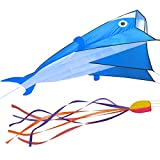 Fixm Kites for Boys Kids Adults Girls Large 3d Dolphin Kite Easy to Fly Beach Games with Handle Line