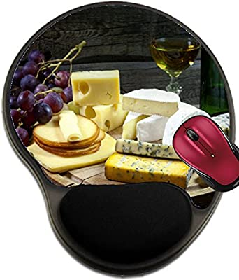 Liili Mousepad wrist protected Mouse Pads/Mat with wrist support design IMAGE ID: 16486837 Cheese wine and grapes various assortment vintage still life