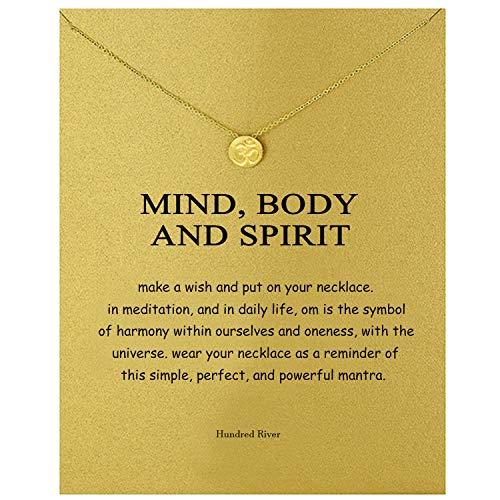 Hundred River Aum Om Ohm Sanskrit Symbol Sport Disc Necklace with Message Card Gift Card(om)