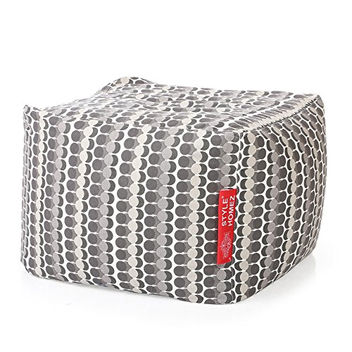 Canvas Ottoman - Style Homez Square Cotton Canvas Polka Dots Printed Bean Bag Ottoman L Size Cover Only