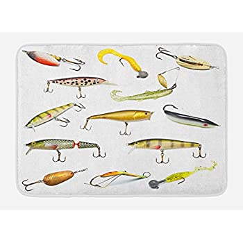 Ambesonne Fishing Bath Mat, Fishing Tackle Bait for Spearing Trapping Catching Aquatic Animals Molluscs Design, Plush Bathroom Decor Mat with Non Slip Backing, 29.5
