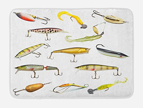 """Ambesonne Fishing Bath Mat, Fishing Tackle Bait for Spearing Trapping Catching Aquatic Animals Molluscs Design, Plush Bathroom Decor Mat with Non Slip Backing, 29.5"""" X 17.5"""", White Mustard"""
