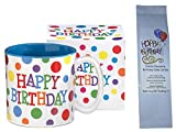 Happy Birthday Polka Dots Mug with Dutch Chocolate Birthday Cake Coffee Gift Set 2 Item Bundle