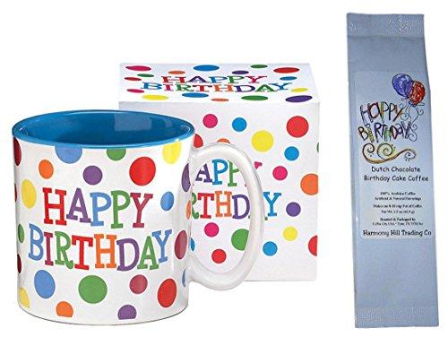 Happy Birthday Polka Dots Mug with Dutch Chocolate Birthday Cake Coffee Gift Set 2 Item Bundle (Coffee Gift Baskets Happy Birthday)