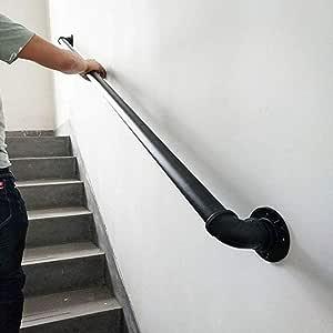 Barandilla redonda para escaleras Pasos exteriores para interiores - Escaleras Barandillas para niños mayores discapacitados Hierro forjado de metal negro Montaje externo en la pared exterior: Amazon.es: Hogar