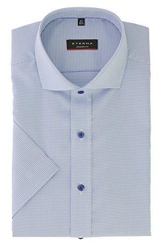 ETERNA Herren Kurzarmhemd aus 100% Baumwolle Modern Fit mit Kent Kragen Gr. 46 Blau strukturiert