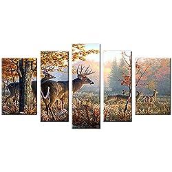 Deer Wall Art Canvas Prints Picture Decor Large 5 Piece Moose Wildlife Animal Photo Artwork Natural Peaceful Landscape for Bathroom Living Room Bedroom Decoration