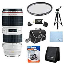 Canon EF 70-200mm f/2.8L IS II USM Telephoto Zoom Lens for Canon SLR Cameras w/ 77mm Multicoated UV Protective Filter, Deluxe Bag, Lens Cap Keeper, Microfiber Cleaning Cloth, Memory Card Wallet, USB 2.0 Card Reader, Professional Tripod