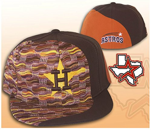 American Needle Houston Astros FIRE Fitted Hat Cap Size 7 3/8 - Brown