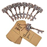 DerBlue 60 PCS Key Bottle Openers,Vintage Skeleton Key Bottle Opener, Wedding Favors Key Bottle Opener Rustic Decoration with Escort Tag Card Thank You