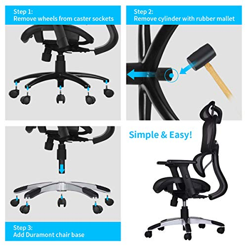 """Duramont Office Chair Base Replacement - Heavy Duty Base To Replace Any Chair Bottom - Strong Aluminum Metal Legs Help Your Desk Chair Last a Lifetime - Universal Standard Size 28"""" Inch"""
