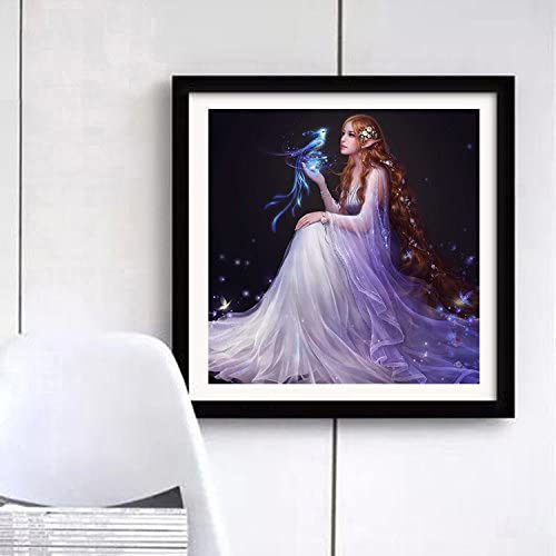 40x40cm 5D DIY Full Square Drill Diamond Painting Cross Stitch Embroidery Fairy Maiden Pattern Rhinestone Pasted Painting