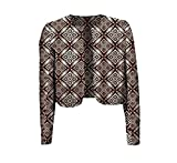 Fieer Women Coat Africa Batik Floral Print Crop Top Simple Cardigan 2 M