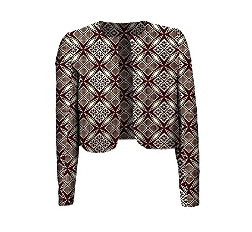 Fieer Women Coat Africa Batik Floral Print Crop Top Simple Cardigan 2 M by FieerWomen (Image #2)