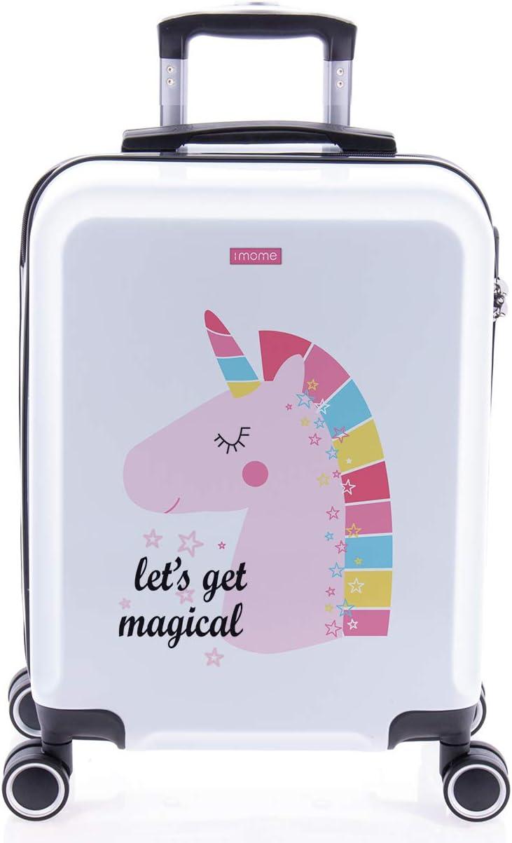imome Cool Maleta de Cabina Infantil Let's Get Magical 55x40x20 cm | Equipaje de Mano, Trolley de Viaje Ryanair, Easyjet | Maleta de Viaje Rígida Divertida Unicornio Juvenil