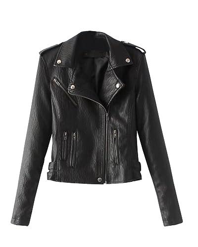 Mujer Chaqueta Imitación Cuero Slim Fitted Cremallera Jacket