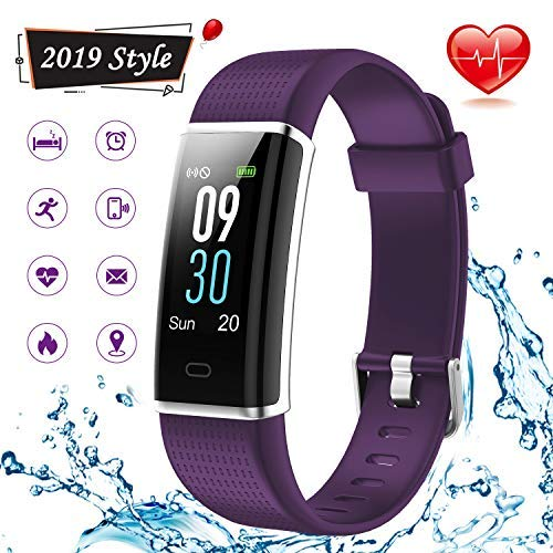 Lintelek Fitness Tracker, Color Screen Activity Tracker with Heart Rate Monitor, Sleep Monitor, 14 Sports Modes, IP68 Waterproof Pedometer, Step Counter for Kids, Women, Men (New Purple)