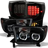 *GAZE* Toyota Tundra Black Smoked SMD LED Halo Headlights...