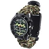 Militar Supervivencia Al Aire Libre Deportivos Reloj Pulsera Hombre-Multifuncional Silbato Brújula Termómetro Camuflaje Tejida A Mano Reloj, Ejercito Verde