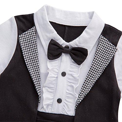 XM Nyan May's Baby Toddler Boys Bowtie Faux Suit Tuxedo Design Romper Onesie
