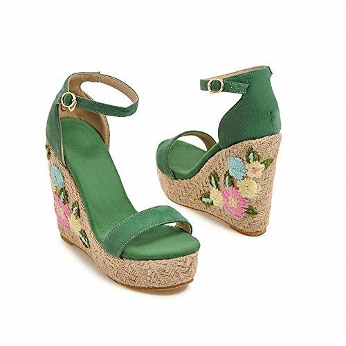 High Green Shoes Heel Sandals Heel Wedge Women's Mee Charm Buckle qfdwztz