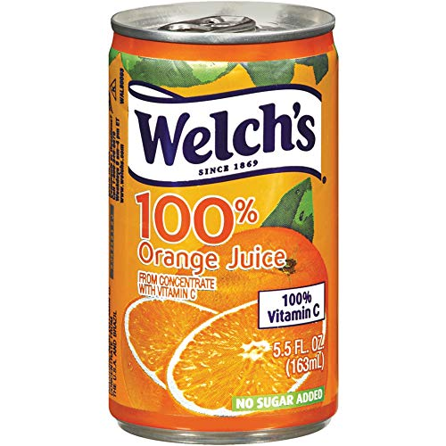 Welch's 100% Juice, Orange, No Sugar Added, 5.5 Ounce On the Go Cans (Pack of 48)