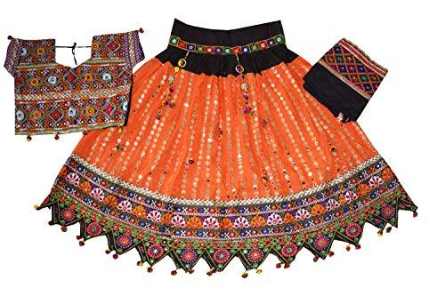 Nanda Women Cotton Navratri Garba Ghagra Choli-Traditional Wear-Foil Mirror Lehenga-Gujarati Chaniya Choli Orange Free Size ()