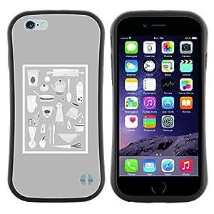 """Hypernova Slim Fit Dual Barniz Protector Caso Case Funda Para Apple (4.7 inches!!!) iPhone 6 / 6S (4.7 INCH) [Gris Alimentación Cocina Culinarias Pan Chef Utensilios""""]"""