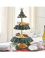 N.S Be Merry Snack-schaalstandaard, kerstsnack-serveerstandaard, voor buffet of tafel, vier kommen, snack-standaard, fruitborden voor kerstfeestdecoraties
