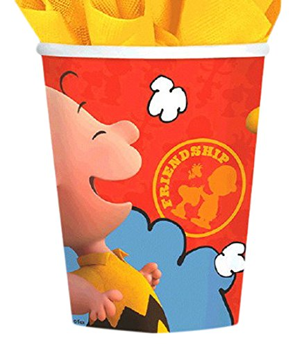 amscan Classic Peanuts Birthday Party Paper Cups Tableware, 9 Ounces, Pack of 8 -