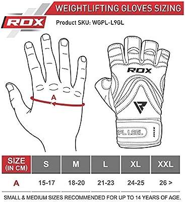 RDX Guantes Gimnasio Cuero con Mu/ñequera Fitness Musculacion Culturismo Gym Levantamiento Pesas Entrenamiento Halterofilia Powerlifting Workout Antideslizante Weightlifting Gloves